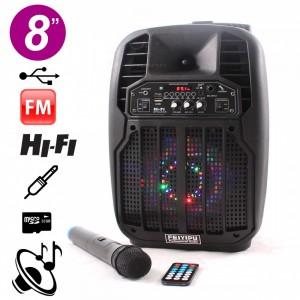 """Feiyipu 8"""" ES-06S-8 Активна тонколона с LED светлини, безжичен микрофон и дистанцонно, 100W"""