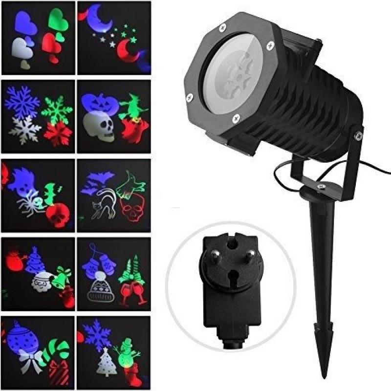 LED прожектор със сменяеми лещи с мотиви / Коледни