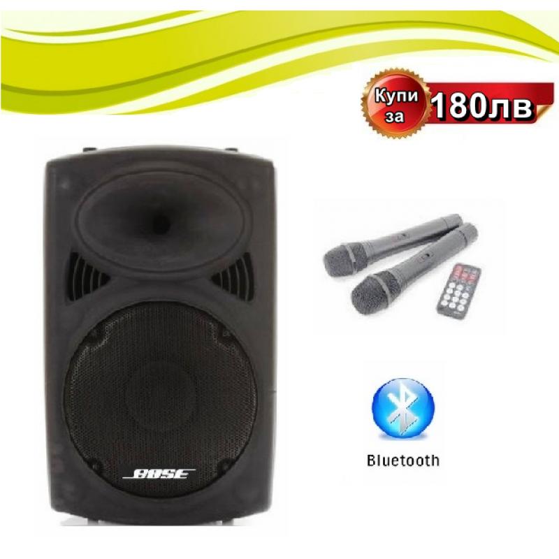 ПРОМО ЦЕНА ! НОВА BOSE-15-ка !Караоке тонколона BOSE-15 Bluetooth 2 микрофона Ф15 ka