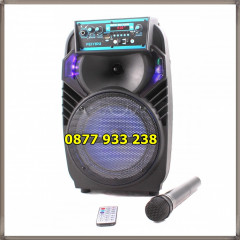"Feiyipu ES-03S Активна тонколона с LED светлини, wireless микрофон и дистанцонно, 8"", Bluetooth, FM Radio, micro SD card"