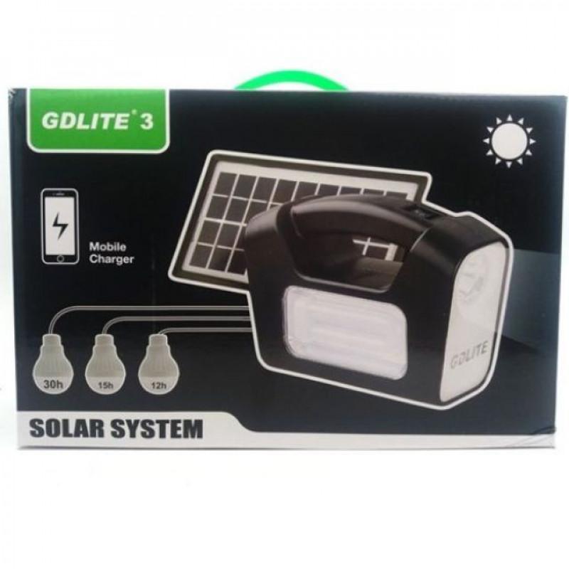 Слънчеви светлини GDlite 3 Plus Цветна система за слънчево осветление с 3 светодиодни крушки, Gd-3pl