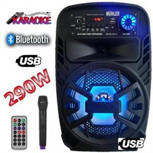 Караоке тонколона MÜHLER MAX3 - 8 инча, Блутут, Безжичен микрофон, акумулатор