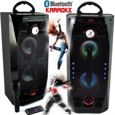 AКЦИЯ Мощна караоке колона QS-36 с Bluetooth, микрофон, цветомузика и радио