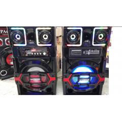 Караоке Комплект Активни Тонколони с вграден усилвател, два безжични микрофона, FM радио,BL/ SD/USB