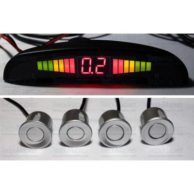 Парктроник с 4 сензора - сиви, дисплей и звукова сигнализация/парктроник система за паркиране