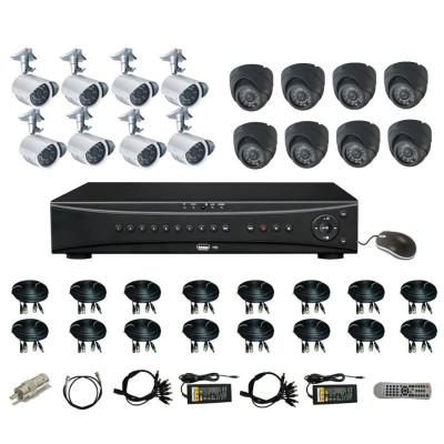 + хард 1 тб 1800 твл Dvr 16 канален hd пакет + 16 камери външни или вътрешни, 3G, пълна система