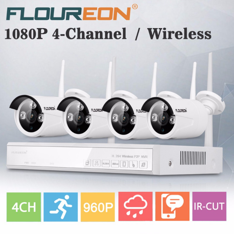 4 IP Wireless, безжични камери, комплект WI FI NVR готов пакет
