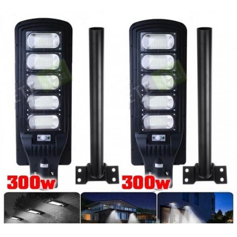2бр. Соларна улична лампа със сензор за движение 300W Black