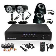 1800 твл Hd пакет - Dvr 4 канален + 4 камери външни или вътрешни, пълна система за видеонаблюдение