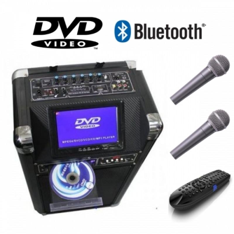 Караоке Тонколона с вграден акумулатор, безжичен микрофон за караоке, DVD и 7 инчов дисплей TV-10 BT