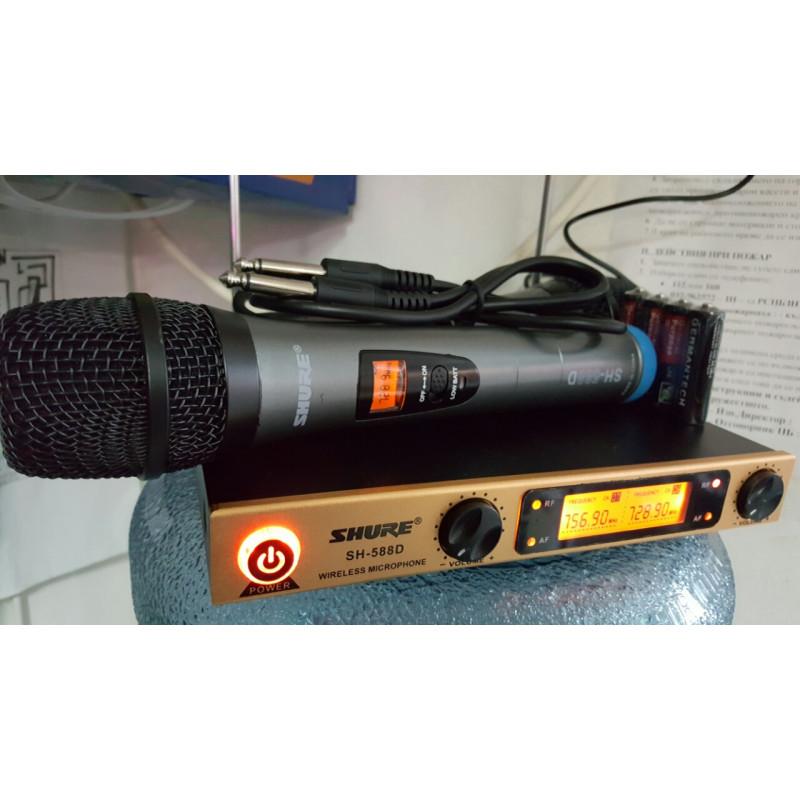 Модел Безжичен микрофон SHURE SH-588D с приемник 100 метра обхват.