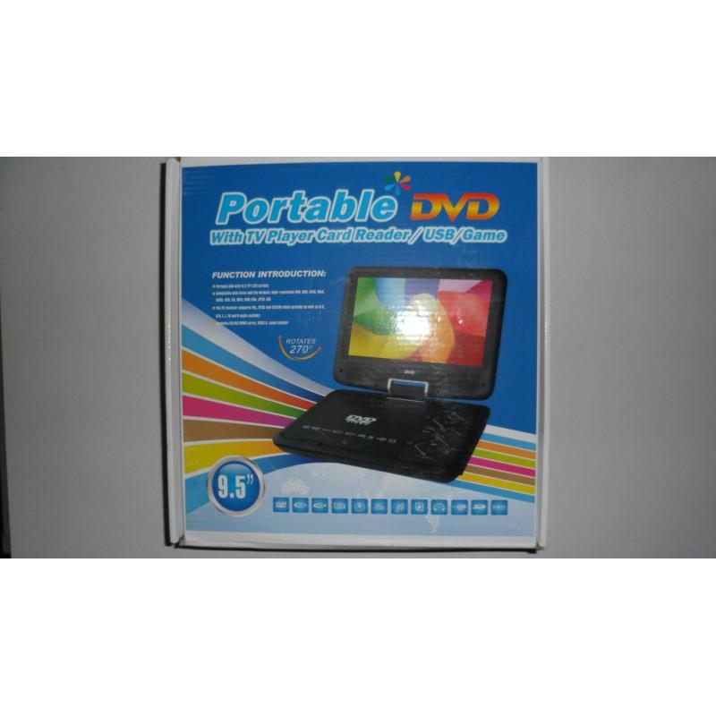 Портативен DVD плеър с телевизор със 9,5 инча дисплей